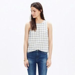 Madewell Plaid Cross-Front blue & white tank top